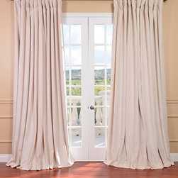 EFF - Ivory Velvet Blackout Extra Wide Curtain Panel - Tame the daylight with this velvet blackout curtain panel. Featuring a soft plush,poly-velvet pile and blackout thermal lining,this extra-wide curtain panel can help to make your home dark during the day when you want some peace and tranquility.