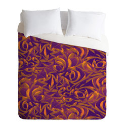 DENY Designs - Wagner Campelo Abstract Garden 1 Duvet Cover - Turn your basic, boring down comforter into the super stylish focal point of your bedroom. Our Luxe Duvet is made from a heavy-weight luxurious woven polyester with a 50% cotton/50% polyester cream bottom. It also includes a hidden zipper with interior corner ties to secure your comforter. it's comfy, fade-resistant, and custom printed for each and every customer.