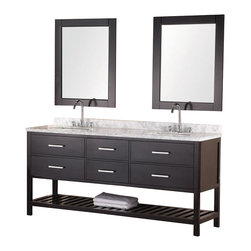 "Design Element - Design Element London 72"" Single Sink Vanity Set w/ Open Bottom - Espresso - The 72"" London Vanity is elegantly constructed of solid hardwood. The white Carrera Marble counter top's classic beauty and the contemporary-styled cabinetry bring a sophisticated and clean look to any bathroom. Seated at the base of the double ceramic sinks are chrome finished pop-up drains designed for easy one-touch draining. Double espresso framed mirrors are included. This beautiful vanity includes four drawers and two large pull-down hinged panels with satin nickel hardware. Plus a large additional open storage space at the bottom. The London Bathroom Vanity is designed as a centerpiece to awe-inspire the eye without sacrificing quality, functionality or durability."