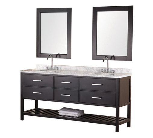 """Design Element - Design Element London 72"""" Single Sink Vanity Set w/ Open Bottom - Espresso - The 72"""" London Vanity is elegantly constructed of solid hardwood. The white Carrera Marble counter top's classic beauty and the contemporary-styled cabinetry bring a sophisticated and clean look to any bathroom. Seated at the base of the double ceramic sinks are chrome finished pop-up drains designed for easy one-touch draining. Double espresso framed mirrors are included. This beautiful vanity includes four drawers and two large pull-down hinged panels with satin nickel hardware. Plus a large additional open storage space at the bottom. The London Bathroom Vanity is designed as a centerpiece to awe-inspire the eye without sacrificing quality, functionality or durability."""