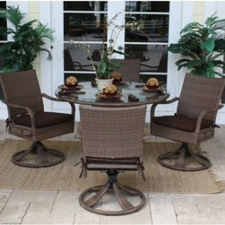"Hospitality Rattan Grenada 5 Piece Round Swivel Woven Patio Dining Set - Viro Fi - Lean into after-dinner conversation with the Hospitality Rattan Grenada 5 Piece Round Swivel Woven Patio Dining Set - Viro Fiber Antique Brown with Tempered Glass - Seats 4. The Grenada Collection has a modern, tropical feel that offers a clean look for any patio area - not to mention the convenience of all-weather wicker. Each piece of this set - four cozy swivel rockers and a square dining table - is supported by an aluminum frame wrapped in high quality antique brown Viro fiber. The rockers, with high backs and decorative open weaving along the sides of the seat, move on smooth-operating swiveling, rocking bases, and the pedestal-style table is topped with clear tempered glass.DimensionsChairs: 24L x 29W x 36H inchesTable: 48 diam. x 30H inchesAbout Hospitality Rattan Hospitality Rattan has been a leading manufacturer and distributor of contract quality rattan, wicker, and bamboo furnishings since 2000. The company's product lines have become dominant in the Casual Rattan, Wicker, and Outdoor Markets because of their quality construction, variety, and attractive design. Designed for buyers who appreciate upscale furniture with a tropical feel, Hospitality Rattan offers a range of indoor and outdoor collections featuring all-aluminum frames woven with Viro or Rehau synthetic wicker fiber that will not fade or crack when subjected to the elements. Hospitality Rattan furniture is manufactured to hospitality specifications and quality standards, which exceed the standards for residential use. Hospitality Rattan's Environmental Commitment Hospitality Rattan is continually looking for ways to limit their impact on the environment and is always trying to use the most environmentally friendly manufacturing techniques and materials possible. The company manufactures the highest quality furniture following sound and responsible environmental policies, with minimal impact on natural resources. Hospitality Rattan is also committed to achieving environmental best practices throughout its activity whenever this is practical and takes responsibility for the development and implementation of environmental best practices throughout all operations. Hospitality Rattan maintains a policy of continuous environmental improvement and therefore is a continuing work in progress. Hospitality Rattan's Environmentally Friendly Manufacturing Process All of Hospitality Rattan products are green. From its basic raw materials of rattan poles, peels, leather, bamboo, abaca, lampacanay, wood, leather strips, and boards, down to other materials like nails, staples, water-based adhesives, finishes, stains, glazes and packing materials, all have minimum impact to the environment and are safe, biodegradable, recycled, and mostly recyclable. Aside from this, the products have undergone an environmentally-friendly process that makes them """"greener."""" The company's rattan components are sourced from sustained-yield managed forests, which means the methods used to grow and harvest the rattan vines ensure the long-term life of the forest and protect the biodiversity of the forest's ecosystems. Hospitality Rattan is committed to buying and using all materials, from rattan and hardwood to finishing materials, from reputable and renewable suppliers and seeks appropriate evidence that suppliers are in compliance with this policy. Hospitality Rattan strives to use materials that are processed in an environmentally responsible manner, or consist of a high level of recycled material. Finishing materials and stains used in Hospitality Rattan's furniture products consist of 75% water-based solutions which evaporate upon application with reduced or Volatile Organic Compounds (VOCs). The furniture factories use water-based glues, stains, topcoats and other finishes on all of their products. The switch from traditional solvent-based processes to water-based processes involved consolidating several processes by the factories, resulting in an 85% reduction in VOC emissions."