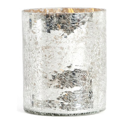"""Saro - Glass Candle Holder, Silver - 4 x 6"""" - Illuminate the table and make your next soiree sparkle."""