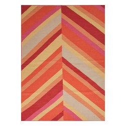 Jaipur Rugs - Flat-Weave Stripe Pattern Wool Orange/Red Area Rug (8 x 10) - An array of simple flat weave designs in 100% wool - from simple modern geometrics to stripes and Ikats. Colors look modern and fresh and very contemporary.