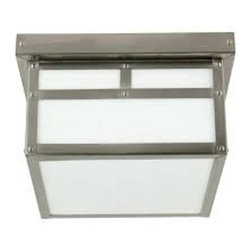 Craftmade Lighting - Stainless Steel Outdoor Flush Ceiling Light with White Glass - Z1843-56 - Mission / mackintosh stainless steel 1-light outdoor ceiling light with white frosted glass panels. Takes (1) 60-watt incandescent A19 bulb(s). Bulb(s) sold separately. ETL listed. Damp location rated.
