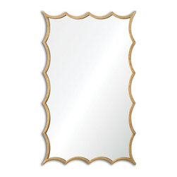 "Uttermost - Dareios Lightly Antiqued Gold Leaf Unique Mirror - Frame Dimensions: 23.625""W X 38.5""H X 1""D; Mirror Dimensions: 22.75""W X37""H; Finish: Lightly Antiqued Gold Leaf; Material: MetalNo; Beveled: ; Shape: Unique; Weight: 32; Included: Brackets, Ready to Hang"