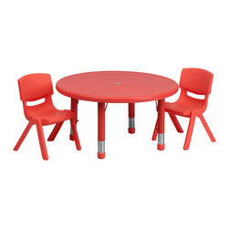 Flash Furniture - Flash Furniture 33 Inch Round Adjustable Red Plastic Activity Table Set - This table set is excellent for early childhood development. Primary colors make learning and play time exciting when several colors are arranged in the classroom. The durable table features a plastic top with steel welding underneath along with height adjustable legs. The chair has been properly designed to fit young children to develop proper sitting habits that will last a lifetime. [YU-YCX-0073-2-ROUND-TBL-RED-R-GG]