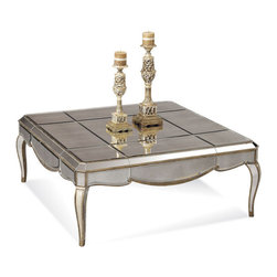 Bassett Mirror Company - Bassett Mirror T1267-130 Collette Mirrored Square Cocktail Table - Square Cocktail Table in Antique Mirror w/ Gold and Silver Leafing belongs to Collette Collection by Bassett Mirror Company Bassett Mirror is fluent in this art, showing a terrific contemporary furniture that will satisfy on the one hand fans of home coziness, and on the other hand - seekers of non-standard design solutions also. One of the many strengths of the Bassett Mirror is using high quality materials for perfect embodiment of brilliant design ideas. Cocktail Table (1)