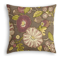 Purple & Green Modern Floral Custom Throw Pillow - The every-style accent pillow: this Simple Throw Pillow works in any space.  Perfectly cut to be extra fluffy, you'll not only love admiring it from afar but snuggling up to it too!  We love it in this large playful floral in soft purple, taupe & lime green. feel the poppy love with this modern print.