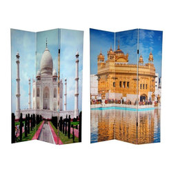 Oriental Furniture - 6 ft. Tall Double Sided Taj Mahal Room Divider - Add some South Asian elegance to your home with this pair of divine color photographs of iconic temples. On the front is India's Taj Mahal, the world's largest and most beautiful mausoleum, commissioned by Mughal emperor Shah Jahan to honor his beloved wife Mumtaz Mahal. The back features a beautiful photograph of the Harmandir Sahib, the holy Golden Temple, the most important pilgrimage site in the Sikh religion. These sublime designs, emblazoned with elegant colors, provide beautiful decorative accents for any living room, bedroom, meditation studio or place of business. This three panel screen has different images on each side, as shown