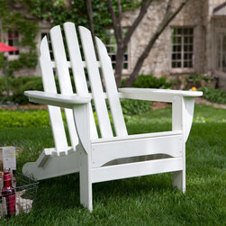 POLYWOOD - Adirondack Chair: Polywood Recycled Plastic Classic Curveback Adirondack Chair - Shop for Chairs and Sofas from Hayneedle.com! If you're looking for unique casual furniture that is attractive comfortable durable and virtually maintenance-free bring home the POLYWOOD Recycled Plastic Classic Curveback Adirondack Chair. Made of strong recycled plastic polymer crafted to look and feel like real wood this chair combines classic style with maximum comfort. The back is curved where it meets the seat so sit back and relax for as long as you'd like! This Adirondack Chair comes in a variety of shades to brighten up your surroundings. It is moisture-resistant so it won't rot warp crack splinter or support bacterial growth. All hardware used to construct this chair is Xylan-coated stainless steel which means no rust and a lifetime of durability. It's also designed for extremely quick and easy assembly. POLYWOODThe advantages of POLYWOOD Recycled Plastic are hard to ignore. POLYWOOD absorbs no moisture and will NOT rot warp crack splinter or support bacterial growth. POLYWOOD is also compounded with permanent UV-stabilized colors which eliminate the need for painting staining waterproofing stripping and resurfacing. This material is impervious to many substances including salt water gasoline paint stains and mineral spirits. In addition every POLYWOOD product comes with stainless steel hardware. POLYWOOD is extremely easy to clean and maintain. Simple soap and water is all you need to get rid of dirt and make your furniture look new again. For extreme cleaning needs you can use a 1/3 bleach and water solution. Most POLYWOOD furnishings are available in a variety of classic colors which allow you to choose your favorite or coordinate with the furniture you already have. This is sure to be a piece that you will be proud to own for a lifetime.