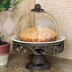 Covered Cake Pedestal - Showcase your favorite confections in style with this gorgeous old world style cake pedestal from the GG Collection. Handcrafted of ceramic and aluminum with a glass dome, the ceramic plate from this Dessert server is detachable and dishwasher, oven and microwave safe. Please note that the presence of air bubbles in the hand blown domes accentuates the nature of the traditional crafting process.