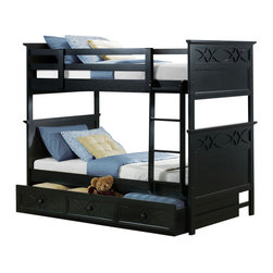 Homelegance - Homelegance Sanibel Twin over Twin Bunk Bed in Black - Without Trundle - As breezy as a day at the beach, the modern cottage styling of the Sanibel collection will meld effortlessly with your casual personal style. Diamond overlay curves throughout the entire collection - capping the headboard then carrying on to the gracefully bowed case pieces. The versatility of the design lends to the perfect placement in a master suite, guest or child's bedroom. The collection is offered in Black or White.