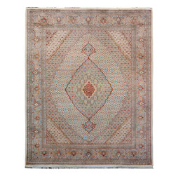 "ALRUG - Handmade Beige Persian Tabriz Rug 7' 11"" x 10' 2"" (ft) - This Pakistani Tabriz design rug is hand-knotted with Wool / Silk on Cotton."