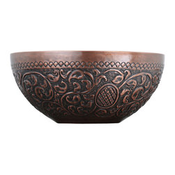 Hudson Reed - Classic Round Vessel Sink in Patterned Copper - Luxury Countertop Lavatory Basin - Constructed from double-wall copper, this round vessel sink is sure to provide any bathroom with a beautiful focal point. This copper sink features a decorative pattern on the exterior and a smooth finish on the interior.