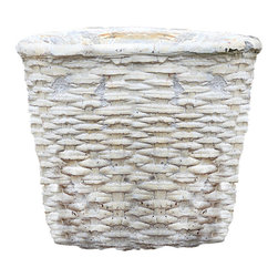 Cement Basket - Twined Weave - Grande Round - Give plants a more elegant home with the Grande Twined Weave Cement Basket, a cachepot that surrounds its contents in the cozy texture of classic English-style basketry. Ideal for mixing a touch of warmth with formality in a country home's container garden or in the corner of a breakfast nook, this cement container serves a number of purposes both decorative and practical.