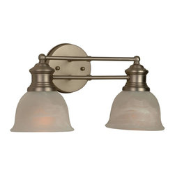 Craftmade - Lite-Rail Series, 2 Light in Brushed Nickel - Bulb Type: A-Type. Max Watt: 2x100W. Glass Finish: Alabaster. Length: 15.5 in.. Extension: 8.0 in.