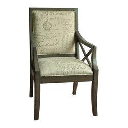 Driftwood French Script X-Arm Chair - Driftwood French Script X-Arm Chair