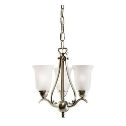 Kichler 3-Light Brushed Nickel Mini Chandeliers - Three Light Pendant Characterized by its long, sweeping arms, the Dover collection offers a clean look while remaining fresh and exciting. With our brushed nickel finish over its hand-wrought steel frame, you can be sure of a high quality fit and finish that is second to none. This 3-light Pendant can be installed in three ways: chain drop - 10 in diameter, body height of 11 1/2 and overall height of 85 1/2. Semi-flush - 10 1/2 in diameter and a height of 12. Wall - 10 1/2 in width, 18 in height and an extension of 11 1/2. It uses 3 60 watt bulbs.