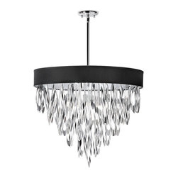 Lucinda Chandelier in Black - Inspired by the movie sets of the 1930s, this chandelier will instantly create a stylish environment in your own home. Eight lights provide brilliant illumination, while a black shade and polished chrome finish let this lamp dazzle. You and your family will think you're on your own movie set with this to provide light.