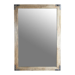 """Kathy Kuo Home - Heritage French Gray Industrial Loft Wood Mirror- 60""""H - Industrial, rustic and vintage style fans will be most pleased by the metal corners, and subtle details of this wall mirror.  Generously proportioned, this piece makes the reflected the star of the show, letting subtle style points emerge from the beauty of the frame."""