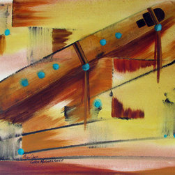 """""""Music Calls"""" (Original) By Chris Morningforest - Music Is An Important Part Of My Life.  I Am A Classically Trained Violist And Play Native American Flute.  I Hear Music In The Wind, In Birdsong, In The Silence Of Wild Places.  In This Piece, You Will See A Flute Resting On A Breeze, A Combination Of Light And Form.  Ink And Acrylic Paint Bring It All To Life.  Perhaps You Can Hear The Music Of The Flute As It Moves Across The Open Spaces.  This Piece Is Framed In A Walnut 20 X 16 Frame And Is Wired And Ready To Hang."""