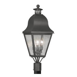Livex Lighting - Livex Lighting 2556 Amwell Post Light with 3 Lights - Livex Lighting 2556 Amwell Three Light Outdoor Post LightAccented with a large vented chimney, cone shaped lid, and ball finial, the Amwell three light outdoor wall sconce features a classic colonial lantern look with its four cornered bell shaped roof and tapered seeded glass windows. This regal light will enhance the look of any home with its timeless style.Livex Lighting 2556 Features: