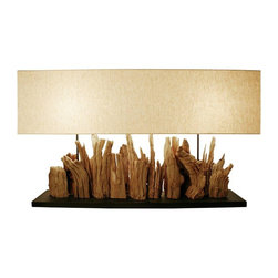 Scandinavian Design - GrandeVertico Riverine Driftwood Table lamp - This Table lamp is truly one of a kind, made of Driftwood that was carefully hand selected and put together by Scandinavian designers to give it this magnificent look, Comes with a coarse linen shade that compliment the base.