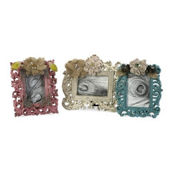 """IMAX CORPORATION - Carson Embellished Photo Frames - Set of 3 - The Carson photo frames have lace and burlap florals added to pink, teal and cream finishes adding a classy, sassy touch to any treasured memories. Set of 3 in various sizes measuring around 21""""L x 11.5""""W x 7.25""""H each. Shop home furnishings, decor, and accessories from Posh Urban Furnishings. Beautiful, stylish furniture and decor that will brighten your home instantly. Shop modern, traditional, vintage, and world designs."""