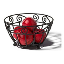 Spectrum Diversified Designs - Scroll Fruit Bowl - Display your fruits and vegetables in style with the Scroll Fruit Bowl. The smart open design lets air circulate, allowing your fruits and vegetables to evenly ripen. This item is also great for serving rolls and muffins, while the beautiful scroll design will add a traditional touch to your home. Made of sturdy steel, this fruit bowl is designed to make your fruits readily available for a quick and healthy snack.