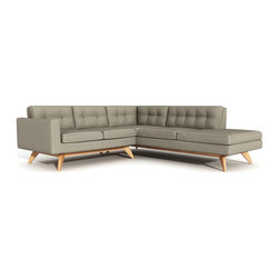 True Modern - Luna Sectional Sofa with Bumper - There's something to be said about clean and classic Danish design. This carefully edited sectional has a soft retro feel, thanks to the button tufting on the back cushions. It offers ample room for you to spread out and fills a room with undeniable style.