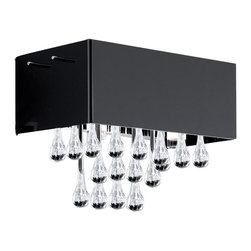 EGLO - Eglo 88204A Black Crystal 2X40W Ceiling Light - EGLO 88204A Black Crystal 2x40W Ceiling Light