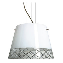 Besa Lighting - Besa Lighting 1KV-4340WC-LED Amelia 3 Light LED Cable-Hung Pendant - Amelia features a tapered drum shape, open at the top, that fits beautifully in transitional spaces. Our White Hand-cut glass is hand-blown clear glass with a stunning edge cut diamond pattern. The contemporary glossy white finish is a dramatic contrast to the sparkling refractive effect created when the cut edges are illuminated. This blown glass is handcrafted by a skilled artisan, utilizing century-old techniques passed down from generation to generation. The cable pendant fixture is equipped with three (3) 10' silver aircraft cables and 10' AWM cordset, and a low profile flat monopoint canopy.Features: