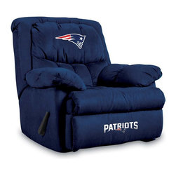 Imperial International - New England Patriots NFL Home Team Recliner - Check out this AWESOME Home Team Recliner. It's incredibly comfortable with microfiber fabric, overstuffed arms and back. Each team logo is embroidered and sewn on the center headrest and footrest. This is a true statement piece that is perfect for your Man Cave, Game Room, basement or garage