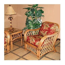 Spice Island Wicker - Wicker Armchair in Cinnamon (Antique Floral) - Fabric: Antique FloralWith the exquisite cinnamon finish on a masterfully built wicker frame, this stunningly gorgeous wicker armchair is a study in excellent quality, one that other furniture would do well to emulate.  And with the luxurious comfort and sturdy build, this chair is much more than just a pretty face, so what are you waiting for?  Enjoy the haven of a generously seated wicker lounge chair in cinnamon finish that features solid triple caning and gently curved spindling at the sides.  Unique pattern is open and highlights the rounded arms and low-profile crest with choice of cushion patterns. * Solid Wicker Construction. Cinnamon Finish. For indoor, or covered patio use only. Includes cushions. 33 in. W x 31 in. D x 35 in. H