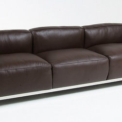 Modern Classics - Le Corbusier: LC3 Down Feathers Relaxed Sofa Reproduction - Features:Polished Stainless Steel tubular frameElastic nylon webbing on underframeDown feathers and foam cushionsChoice of 15 leather colorsSpecifications:Overall Dimensions (in): 93w x 29d x 25hSeat Height: 15.5 in.Weight: 140 pounds