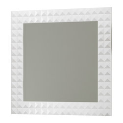 "Macral - Diamond 32-Inch Wall-Framed Mirror, White - Diamond 32"" Framed mirror White High gloss. The price ONLY includes the mirror, all the rest items such as the vanity, the faucet, linen cabinet...are NOT INCLUDED, but can be sold separately."