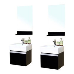Bellaterra - 41 In Double Wall Mount Style Sink Vanity - Wood - Dark Espresso - This simple yet elegant wall mount style wood vanity is perfectly simple and functional for your home. Rich black wood finish with sleek nickel hardware enhance a modern bathroom. Semi close finish ensure completely water proof surface against water damage caused by the humidity of the bathroom. Pull down style cabinet provide storage solution for any tight space. Dimension: 41Wx16.5Dx22H * ** * Birch* Dark * Espresso* White Ceramic * White Ceramic Sink* Nickel finish hardware* Pre-drilled with 1 hole - One slot faucet, faucet and mirror not included* Slight assembly required. Dimensions: 41 in. x 16.5 in.