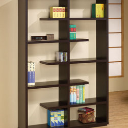 Coaster - 800297 Bookshelf - Standing 71 inches tall, this bookshelf features small and large open storage space for displaying books, knick knacks and other home decor. Finished in cappuccino.