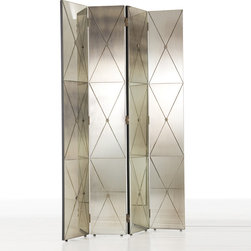 Arteriors - Arteriors Stephan Room Screen - The Stephan room screen by Arteriors harkens to a design era where glitz and glamour were the standard. This Hollywood Regency-style accent piece divides a space with antiqued mirror and brass panels. 12.5''W x 79.5''H; Wood, antiqued mirror and brass; Four panels