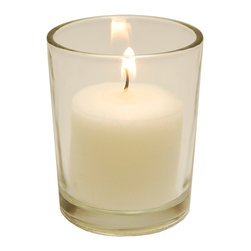 LumaBase Luminarias - 12 Clear Glass Candle Holders with 72- 15 Hour Votive Candles - Votive candles are perfect for any occasion or event. They are compression molded with lead free wicks for a clean and smokeless burn. These simple candles and glass holders will add a touch of elegance to your special event.