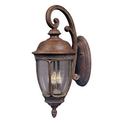 Maxim Lighting - Maxim Lighting Knob Hill DC Traditional Outdoor Wall Sconce X-ESDC5643 - You don't have to live in a ritzy neighborhood to decorate with this Maxim Lighting Knob Hill DC Traditional Outdoor Wall Sconce. This beautiful light fixture features a die cast aluminum frame in a rich and warm sienna finish with seedy glass panels. The European styling makes this an elegant three-light piece that's suitable for a wide range of architectural styles.