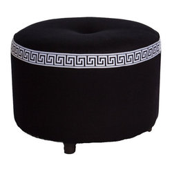 Society Social - Greek Key Stool, Black - Everyone deserves a pretty spot on which to rest their feet. The Greek key trim and top tuft on this petite footrest give it an almost regal look, making it the perfect spot for someone very special. If only it came with a foot masseuse too.