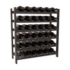 36 Bottle Stackable Wine Rack in Pine with Black Stain + Satin Finish - A pair of discounted wine racks allow double wine storage at a low price. This rack accommodates all 750ml bottles, Pinots and Champagnes. The quintessential DIY wine rack kit. Your satisfaction is guaranteed.