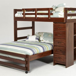 Chelsea Home - 78 in. Twin Over Full Loft Bed - NOTE: ivgStores DOES NOT offer assembly on loft beds or bunk beds.. Mattresses not included. Rustic style. Five drawers chest. Three bookshelf end. Hand stain finished with three steps process to compliment the natural wood grain. Rails will connect to the bed ends by a 3.5 inch lag bolt for strength. Meet and exceed all of the following rules: ASTM F-1427-07, CFR 1213, CFR1513 and lead testing. Constructed for strength and durability. Warranty: One year. Made from solid plantation-grown pine wood. Dark finish. Made in USA. Assembly required. 78 in. L x 78 in. W x 62 in. H (324 lbs.). Bunk Bed Warning. Please read before purchase.Warning: Falling hazard, bunk beds should be used by children 6 years of age and older!