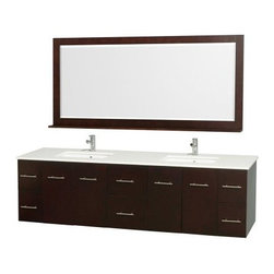 Wyndham Collection Centra 80-in. Double Bathroom Vanity Set - Espresso - You'll find ample storage and sleek contemporary style in the Wyndham Collection Centra 80-in. Double Bathroom Vanity Set - Espresso. Scaled for todays larger bathrooms, this vanity set is constructed of solid hardwoods and is designed to last a lifetime. Its deep espresso finish, brushed chrome rod pulls, and choice of countertop materials make it just right for your space. Two undermount sinks, a generous countertop, and framed mirror with shelf complete the look. Find plenty of storage in the two center drawers plus four cupboard doors with shelving behind each.About the Wyndham CollectionWyndham and the Wyndham collection are all about refinement, detailing, uniqueness, quality, and longevity. They are dedicated to the quality of their products and own the factory where each piece is constructed. This allows Wyndham to offer products that reflect the rigorous quality standards required for every piece that is offered to their customers. The Wyndham collection showcases elegant, modern design styles that highlight functionality and style in every detail.