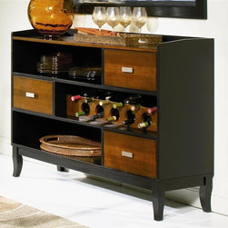 Coaster - Boyer 3 Drawer Server - Contemporary style. Veneer patterned table tops. Three storage drawers. Two shelves. Wine storage compartment. Sleek contemporary legs. Sleek metal hardware. Made from select hardwood and birch veneers. Black and cherry two-tone finish. 58 in. W x 17.5 in. D x 41 in. H. WarrantyBring this trendy and functional server into your dining room. Utilize the spacious top for serving food and drinks to guests.