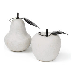 """Go Home - Set of Two Antique Marble Fruit - Elegant Set of Two Antique Marble Fruits enhance the beauty of your marble fruits collection. This provides a simple yet striking look to compliment your home decor.  Apple: 3"""" Dia. x 4"""" H"""