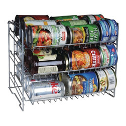 "Atlantic - Can Rack - Deep capacity. Slim space-saving storage solution. Durable steel wire construction. Angled shelves for easy retrieval. Compact size fits most cabinets & pantry shelves. No tool assembly. Silver. Dim: 11.88""H x 11.25""W x 15.25""D. 3 tier"