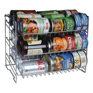 """Atlantic - Can Rack - Deep capacity. Slim space-saving storage solution. Durable steel wire construction. Angled shelves for easy retrieval. Compact size fits most cabinets & pantry shelves. No tool assembly. Silver. Dim: 11.88""""H x 11.25""""W x 15.25""""D. 3 tier"""