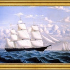 """William Bradford-16""""x24"""" Framed Canvas - 16"""" x 24"""" William Bradford Clipper Ship 'Northern Light' of Boston framed premium canvas print reproduced to meet museum quality standards. Our museum quality canvas prints are produced using high-precision print technology for a more accurate reproduction printed on high quality canvas with fade-resistant, archival inks. Our progressive business model allows us to offer works of art to you at the best wholesale pricing, significantly less than art gallery prices, affordable to all. This artwork is hand stretched onto wooden stretcher bars, then mounted into our 3"""" wide gold finish frame with black panel by one of our expert framers. Our framed canvas print comes with hardware, ready to hang on your wall.  We present a comprehensive collection of exceptional canvas art reproductions by William Bradford."""
